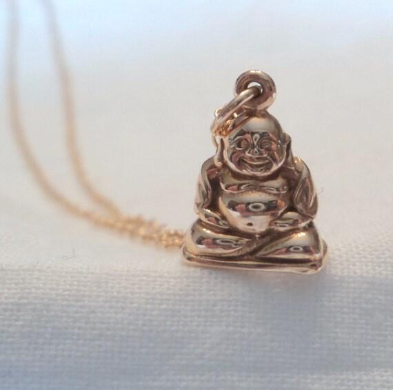Buddha necklace.  Italian bronze buddha charm on gold fill chain.