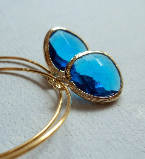 Caribbean blue quartz glass gold hoop earrings.  Everyday.  Bridal.  Simple and Sexy.