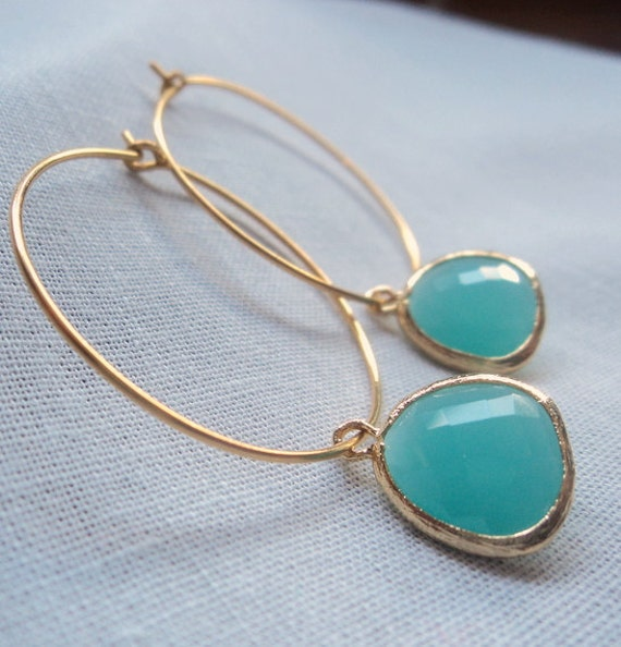 Aqua chalcedony glass gold hoop earrings.  Everyday.  Bridal.  Simple and Sexy.