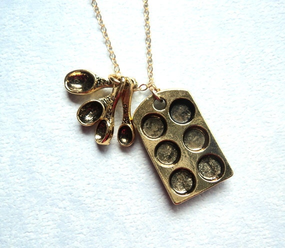 Baker's muffin tin and measuring spoon charm necklace on gold fill chain.  NEW ITEM.  Mother's Day Gift.
