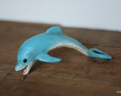 Antique Vintage Cast Iron Diving Blue Dolphin Solid Bottle Opener