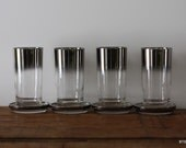 Vintage Silver Rimmed Ombre 9 Piece Glassware Set Including Glass Coasters and Caddy