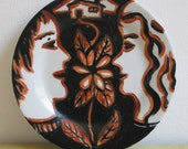 FREE SHIPPING - Colored Young Couple Hand Painted Ceramic Plate
