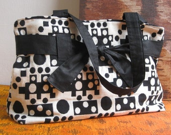 One of its Kind -  Domino Black and White Tapestry Fabric Hobo Bag