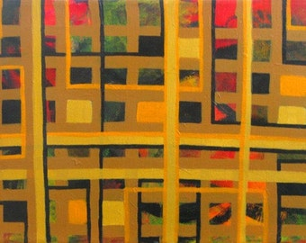 Warm Urban Landscape - Original Abstract Acrylic Painting