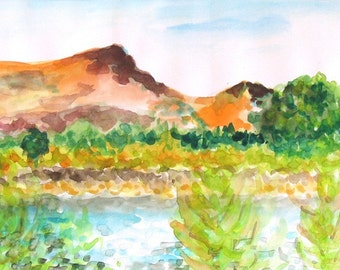 The Kinereth Lake - Beautiful Original Watercolor Lansdcape Colored Painting