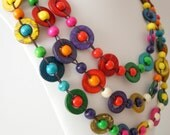 CLOSING DOWN SALE - WAS 25 NOW 15  - Multistrand Beaded Rainbow Necklace (4167)
