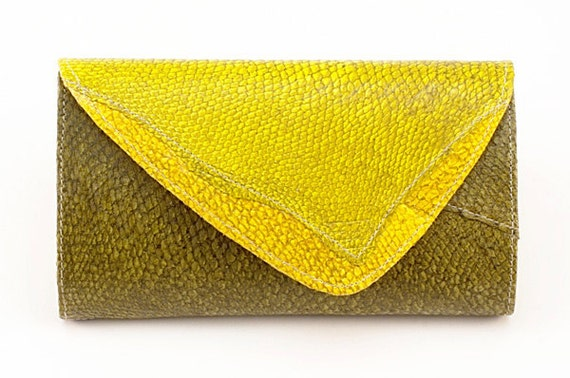 Handmade wallet from yellow and green fish leather - fold-over purse