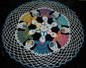 Crochet Easter Bunny And Basket of Eggs Doily Pattern