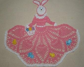 Easter Bunny Girl Doily Crochet Pattern