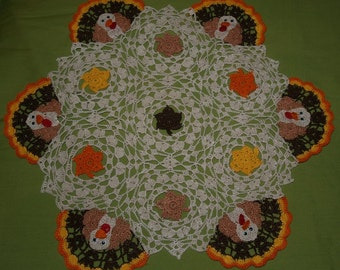 Thanksgiving Turkey's and Leaves Crochet Doily Pattern