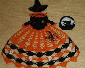 Halloween Witch Doily Girl Crochet Pattern