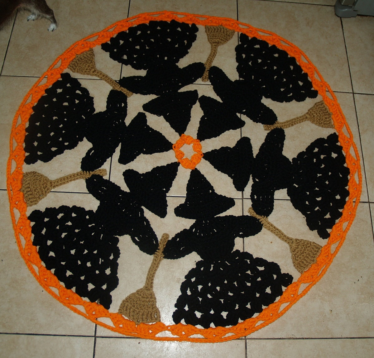 Halloween Circle Of Witches And Brooms Crochet Rug By Vjf25