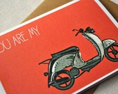 Retro cool vespa red card (pack of 4) for your love one