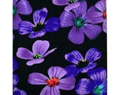 Kindle 3 eReader Fabric Sleeve Case - Purple and Blue Flowers