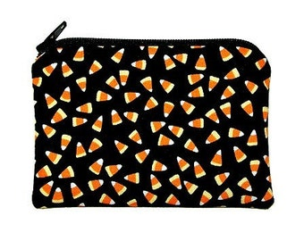 Halloween Candy Corn Coin Purse Small Zipper Pouch