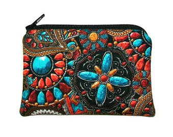 Southwest Native American Medalions Small Zipper Pouch Coin Purse
