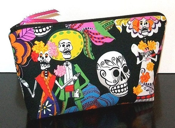 Flat Bottom Zipper Pouch Cosmetic Case - Day of the Dead Los Novios Skeletons