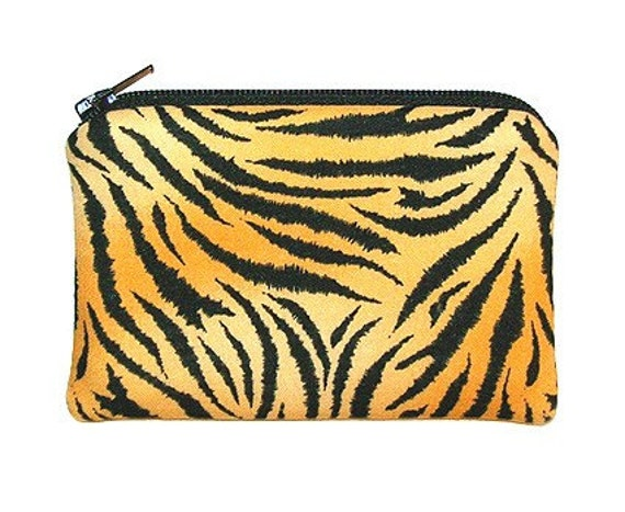 Tiger Stripe Animal Print Small Zipper Pouch Coin  Purse