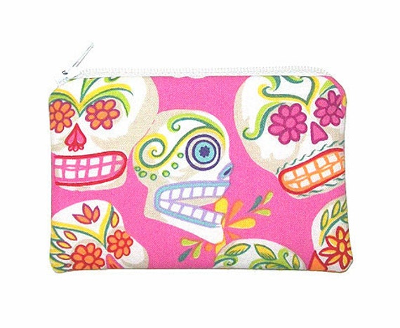 Day of the Dead Sugar Skulls Mini Calaveras on Pink Small Zipper Pouch Coin Purse
