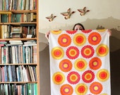 RESERVED - Vintage Finnish fabric with bold flower pattern in yellow, orange and red