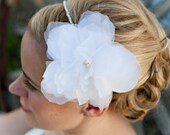 Bridal Flower Headband - Silk Flower and Freshwater Pearl Headband - Available in your choice of White or Ivory.  The Erin - Made To Order.