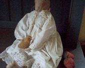 Primitive Folk Art Bunny Doll and Chick PRINTED PATTERN by cheswickcompany