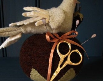 Primitive Folk Art Dove Pincushion Clamp E-PATTERN by cheswickcompany