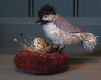Mohair Chickadee Pincushion PRINTED PATTERN by cheswickcompany