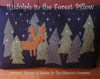 Rudolph in the Forest Pillow E-PATTERN by cheswickcompany