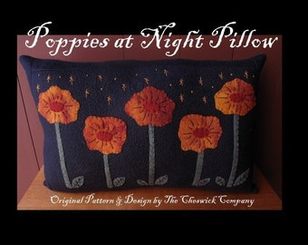 Poppies at Night Pillow E-PATTERN by cheswickcompany