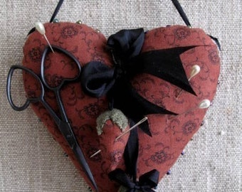 Primitive Heart Pincushion Pinkeep E PATTERN by cheswickcompany