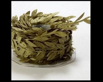 OLIVE GREEN Petite Leaf Ribbon Trim  cheswickcompany