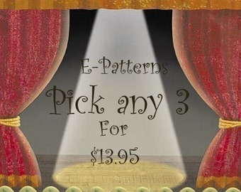 Pick Any 3 E PATTERNS You Would Like by cheswickcompany