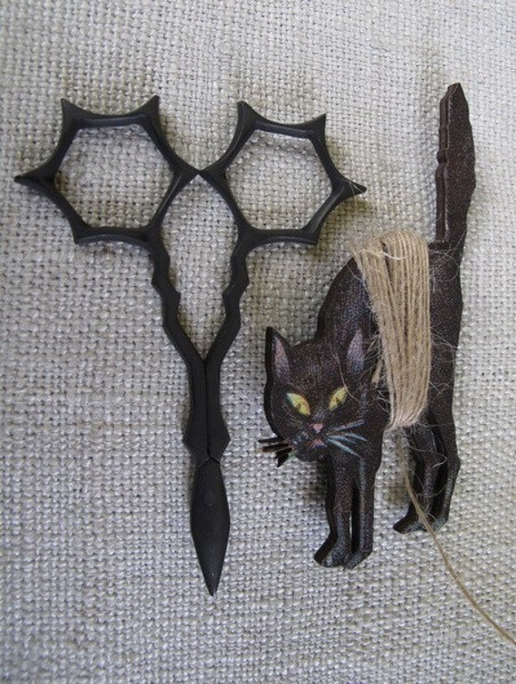 Halloween Embroidery Scissors and Spooky Cat Thread Winder cheswickcompany