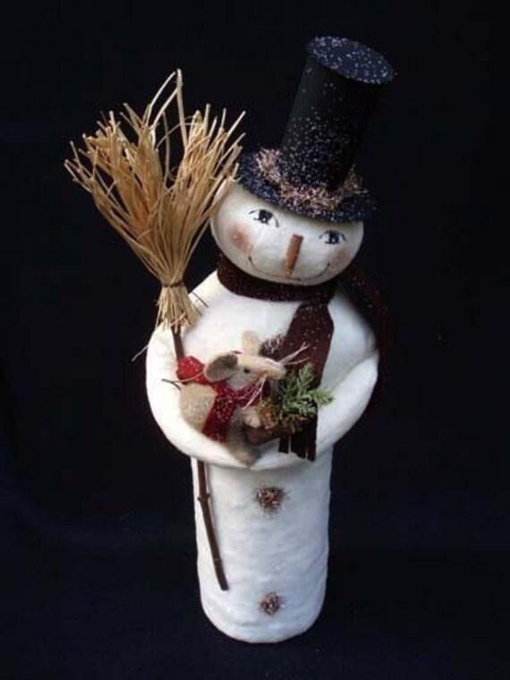 Primitive Folk Art Christmas Snowman and Mouse E PATTERN by cheswickcompany