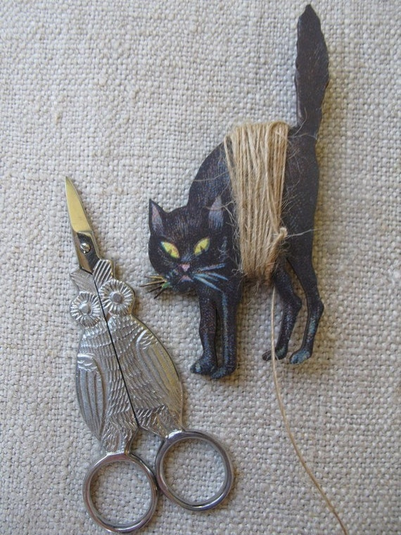 Night Owl Embroidery Scissors and Spooky Cat Thread Winder by cheswickcompany