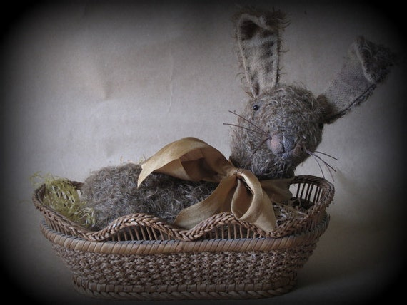 FINISHED PIECE Nutmeg Easter Bunny in Antique Basket by cheswickcompany