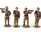 Vintage Plastic Figures  Army Men Set of Four Toy Figures