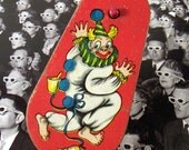 Vintage Red Noisemaker Metal Barefoot Clown - epsteam vestiesteam thebestvintage