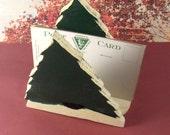 Vintage Napkin Letter Holder Rustic Folk Art Pine Tree Painted Wood * vestiesteam epsteam thebestvintage