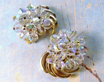Vintage Earrings Aurora Borealis Clip Style Crystal Beads Gold Tone - epsteam vestiesteam thebestvintage