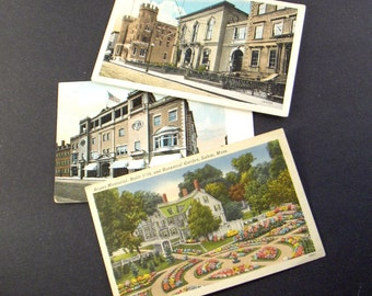 Salem MA Postcards Massachusetts Post Cards - Essex Institute - State Armory - YMCA - Ropes Memorial - Botanical Garden