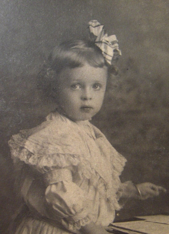 Antique Photograph Girl  Cabinet Card Big Eyed Toddler Girl From Converged Commodities