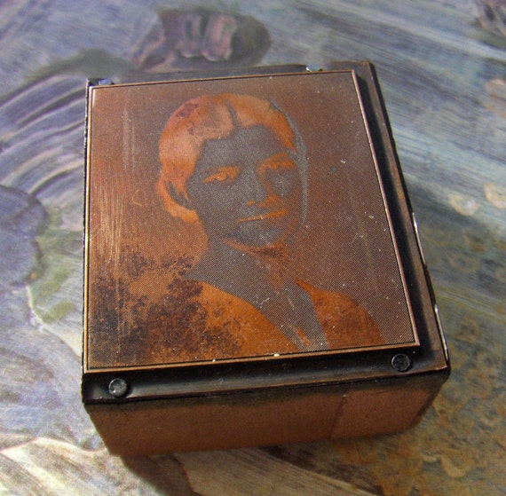 Old Wood Block Metal Negative Of Woman