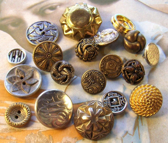 Vintage Metal Buttons Various Designs Collection of Nineteen