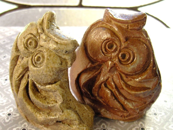 Stoneware Owls Pair Pottery Abstract Art Form