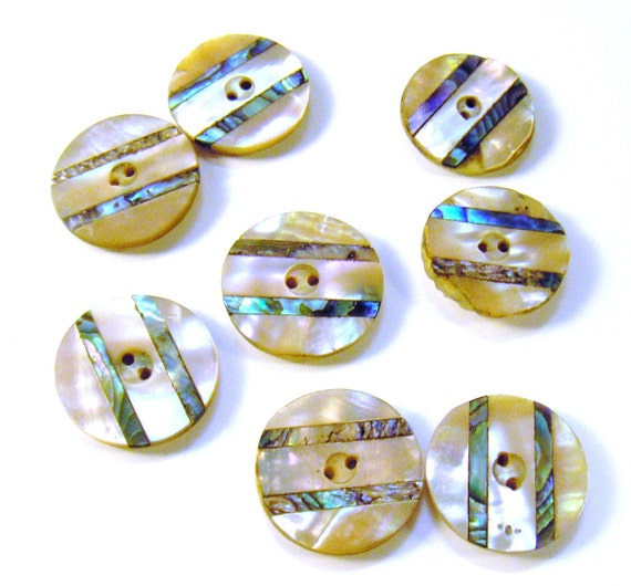 Vintage Buttons Mother of Pearl Inlaid with Bone Backs Set of Eight from Converged Commodities vestiesteam thebestvintage