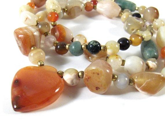Vintage Semi Precious Stones Necklace Multi Colored Beads