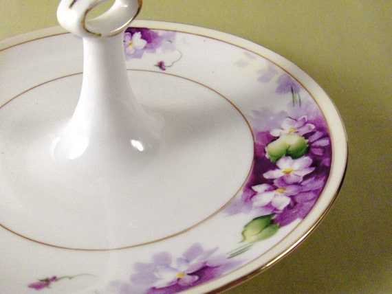 Vintage Nippon Violets Tidbit Hand Painted China Serving Dish from Converged Commodities vestiesteam thebestvintage